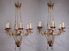 L.C. Sevin & F. Barbedienne Rare Pair of Oriental Chandeliers