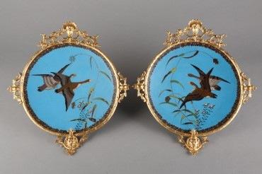 Paire de plats en émail cloisonné objets Tobogan Antiques Paris antiquités XIXe siècle