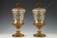 Bohemian crystal glassware  Pair of sweetmeat vases