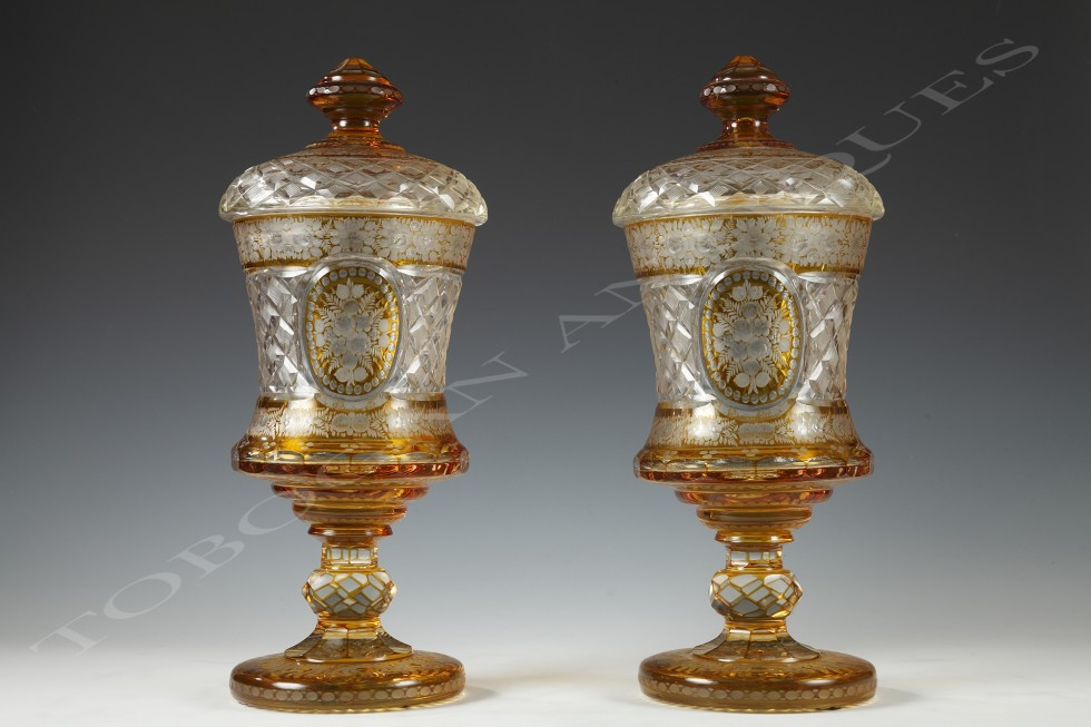Bohemian crystal glassware <br/> Pair of sweetmeat vases