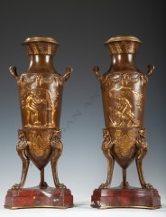 "F. Levillain & F. BarbediennePair of ""Sacrifice"" vases"
