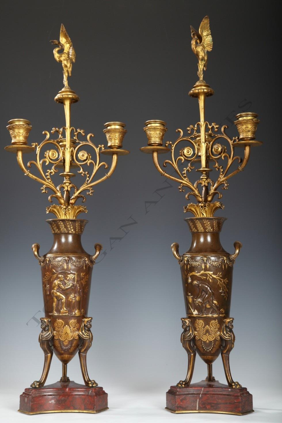 F. Levillain & F. Barbedienne<br />Paire de vases-candélabres