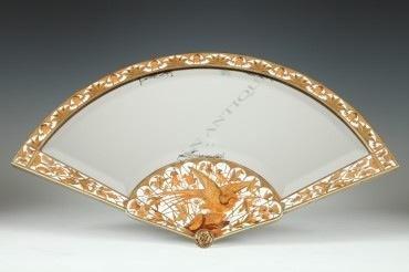 Miroir de table Japonisant Duvinage Giroux ivoire marqueterie objets Tobogan Antiques Paris antiquités XIXe siècle