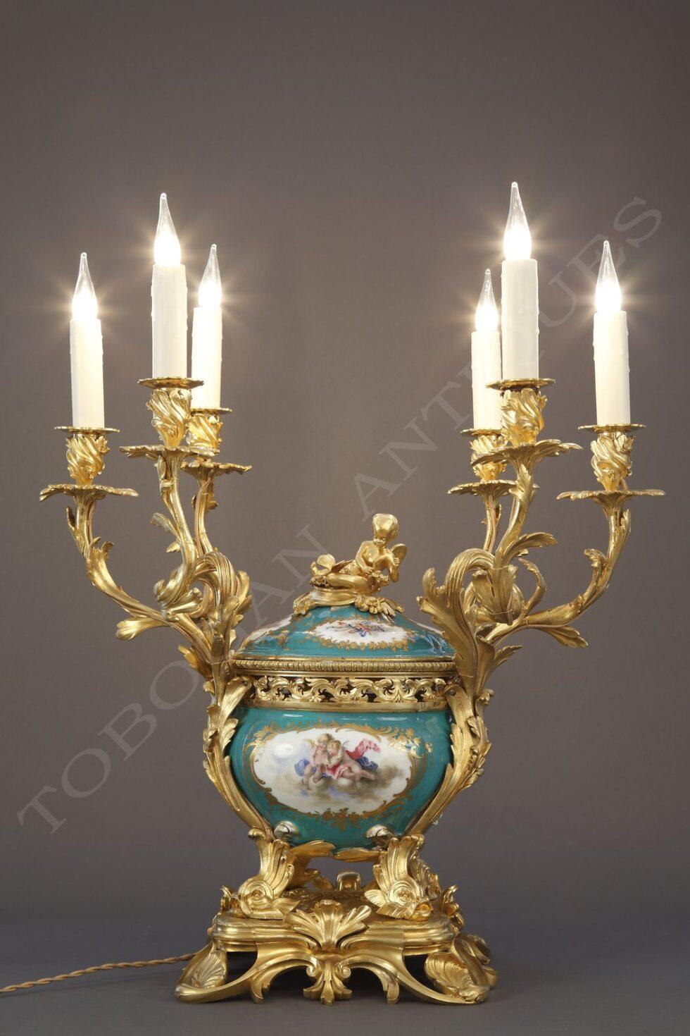 Sèvres<br />A six-light porcelain centerpiece
