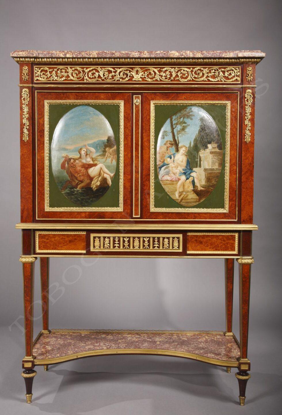 H. Dasson<br /> Secrétaire à médaillons peints