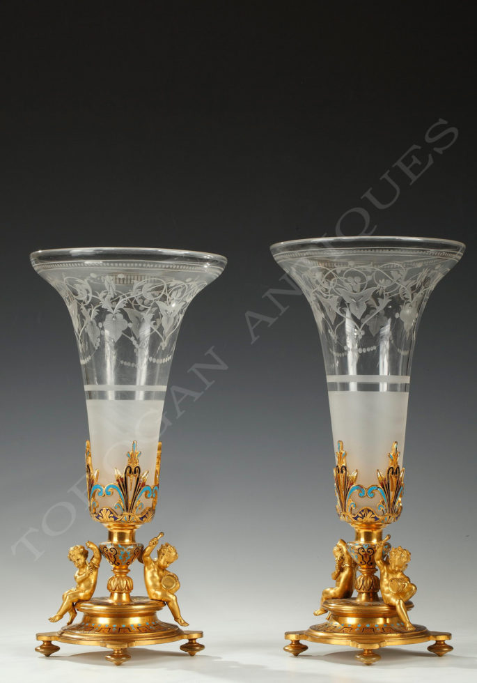 A. Giroux <br/> Pair of trumpet vases