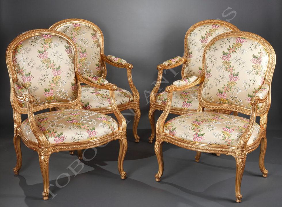 """Set of four armchairs """"à châssis"""""""
