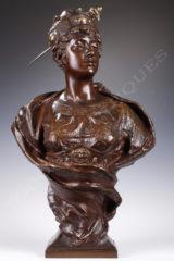 Buste princesse orientale en bronze patiné - Gaston Veuvenot Leroux - Tobogan Antiques - Antiquaire Paris
