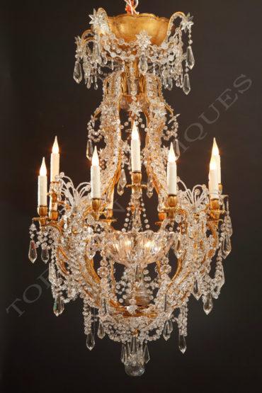 Lustre en cristal et fer doré - Attribué à Maison Baguès - Tobogan Antiques - Antiquaire Paris