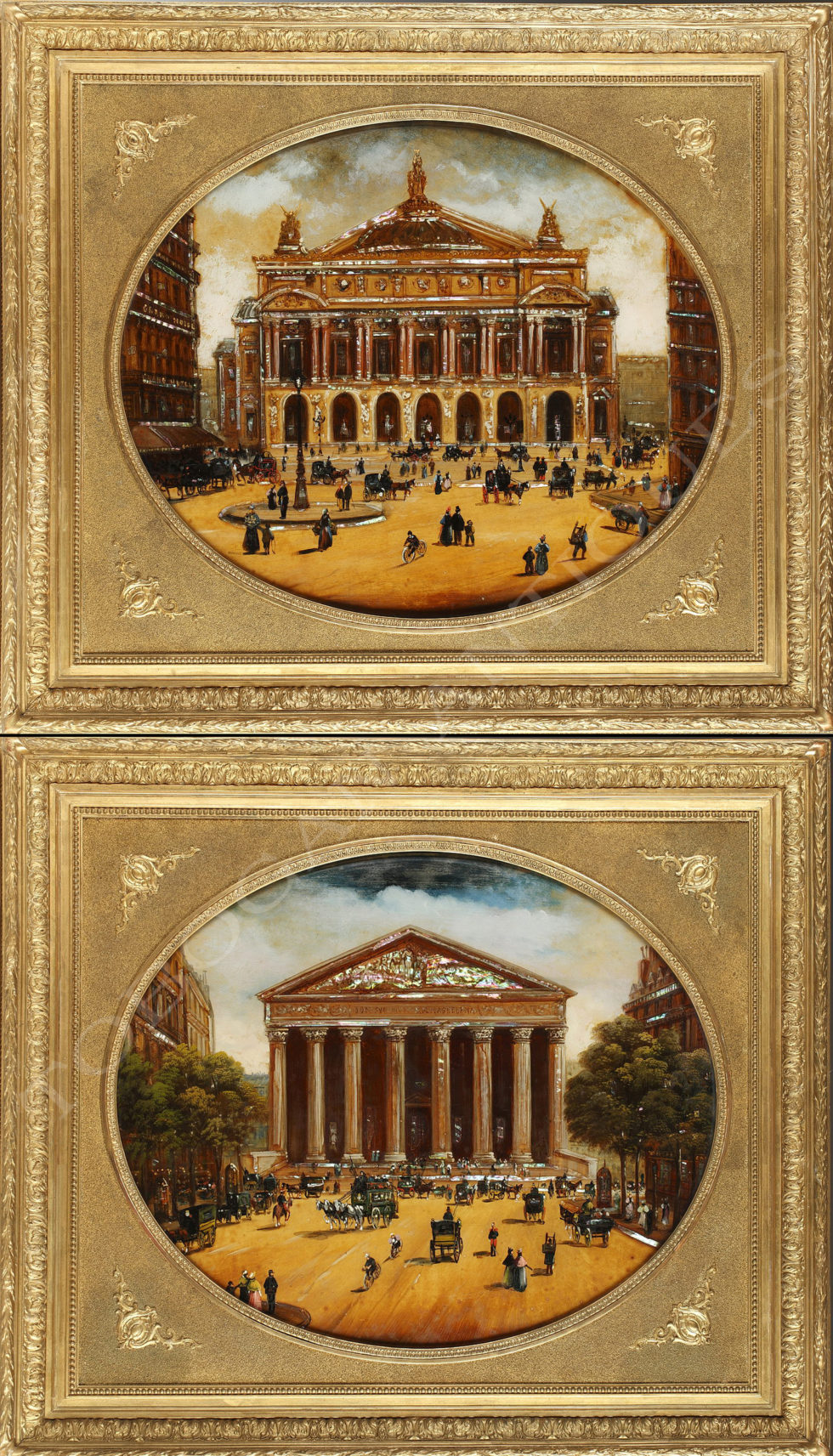 "Charming pair of paintings <br/> ""La Belle Epoque"""