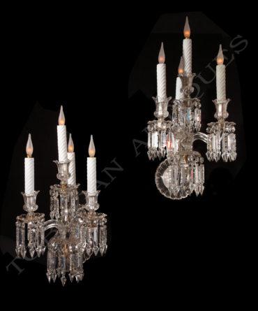 Appliques en cristal - Attribué à Baccarat - Tobogan Antiques - Antiquaire Paris
