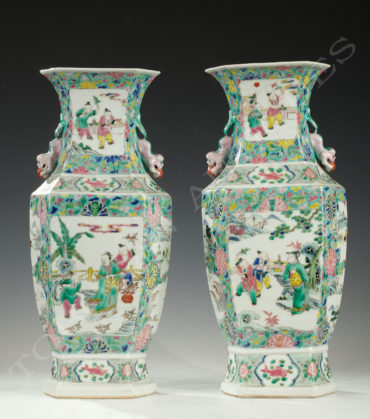 Paire de vases porcelaine de Canton - Tobogan Antiques - Antiquaire Paris 1