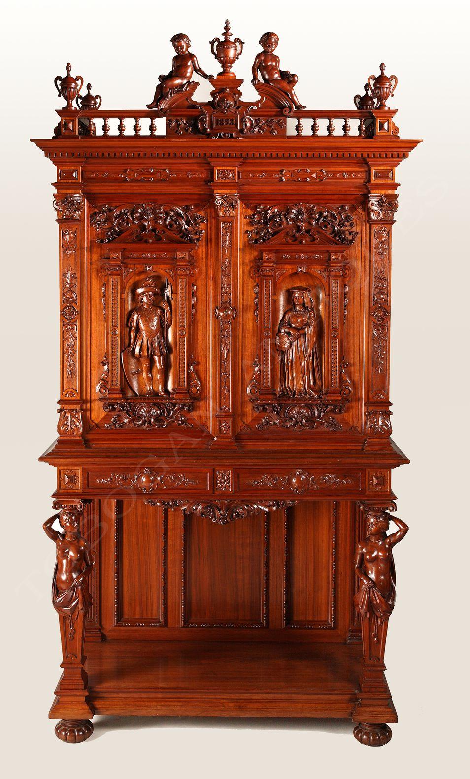 H.A. Fourdinois <br/> Exceptionnel Cabinet néo-Renaissance