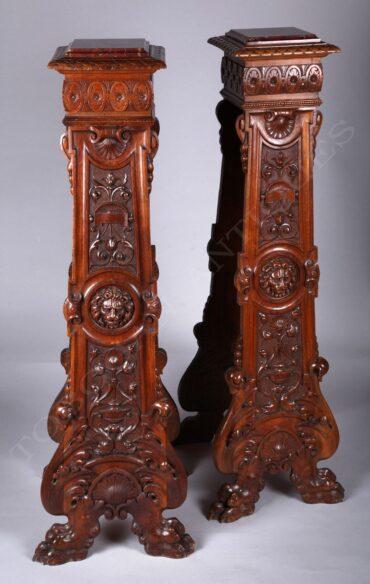 Paire de Sellettes néo-Renaissance – Tobogan Antiques – Antiquaire Paris 8ème