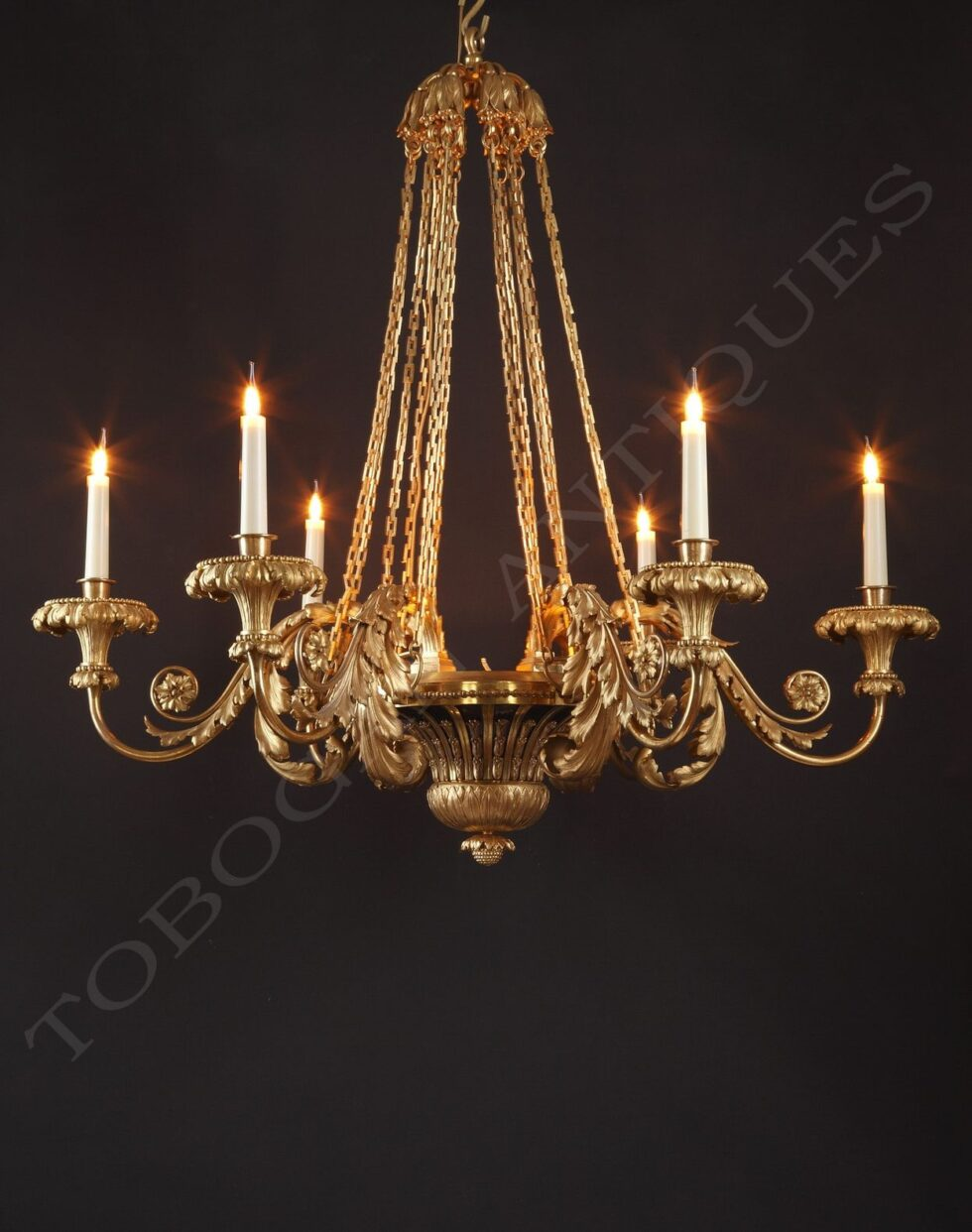 H. Dasson <br/> Chandelier with Acanthus