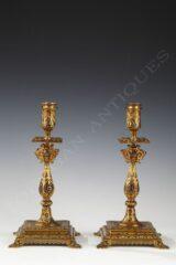 Paire de bougeoirs orientalisants en bronze émaillé – Signés F. Barbedienne – Tobogan Antiques – Antiquaire Paris 8ème-11