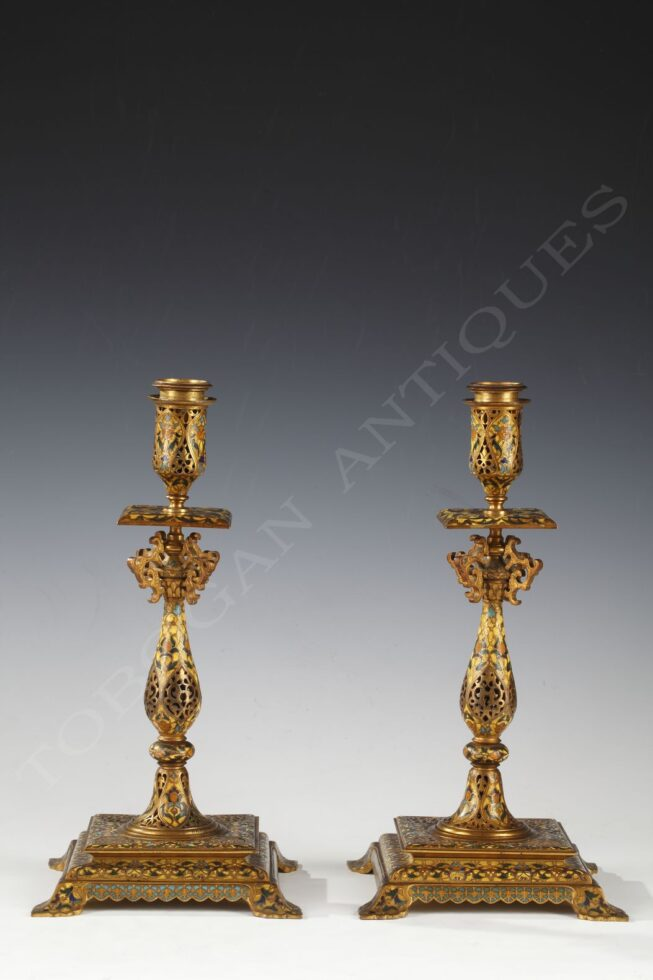 F. Barbedienne <br/> Pair of Oriental style Candlesticks