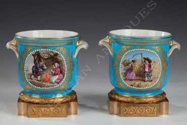 pair of glass coolers sevres