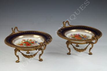 pair of mounted plates sevres