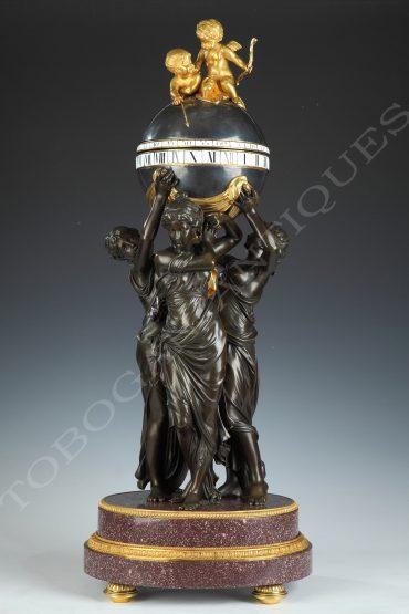 Pendule aux trois Graces - Attribué à H. Dasson - Tobogan Antiques - Antiquaire Paris