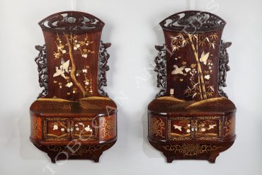 pair of lacquer japanese shelves