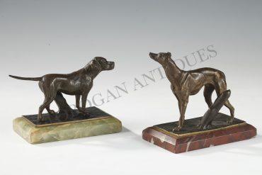 chiens de chasse bronze et marbre