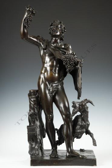 """""""Bacchus"""" Dasson bronze sculpture Tobogan Antiques Paris antiquités XIXe siècle"""