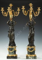 "Henri Auguste  Pair of ""Athenians"" Candelabras"