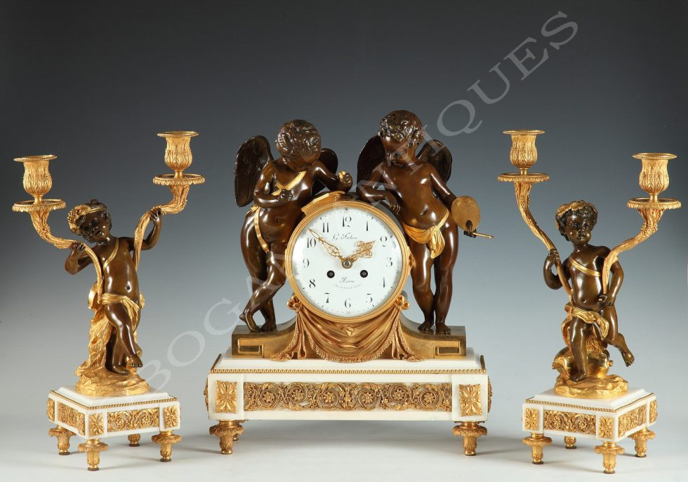 "G. Fabre <br/> A ""Genius of the Arts"" Clock Set"
