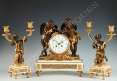 "G. Fabre A ""Genius of the Arts"" Clock Set"