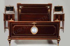 A French Ormolu-mounted  «Wedgwood» and Mahogany Bedroom Set  F. Linke