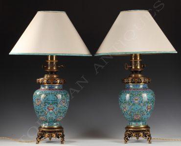 pair of cloisonne enamel lamps gagneau