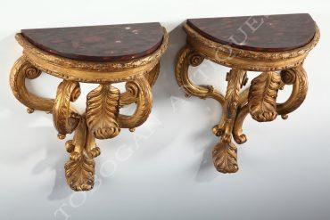 pair of giltwood consoles d'applique