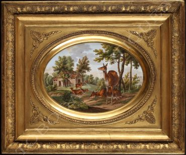 deers in a landscape painting on porcelain