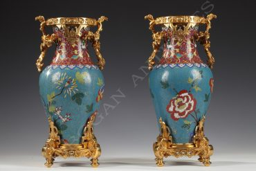 pair of enamel vases escalier de cristal