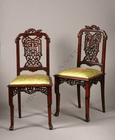 Paire de chaises Japonisantes Viardot Tobogan Antiques Paris antiquités XIXe siècle