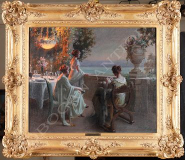 Charming evening scene depicting three young ladies on a terrace, near a lake.