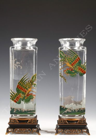 Charming pair of vases with a polychrome decoration of birds of paradise