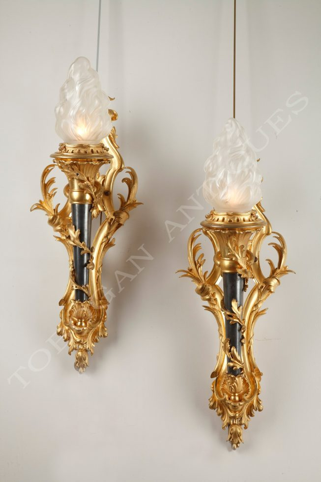 Gagneau <br/> Pair of torch wall-lights
