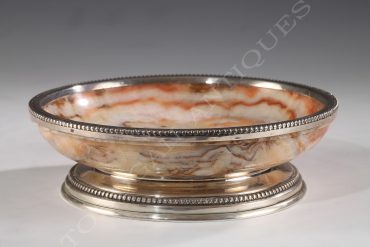 onyx and silver bowl