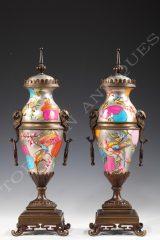 Pair of Aesthetic movement vases  Porcelaine de Paris