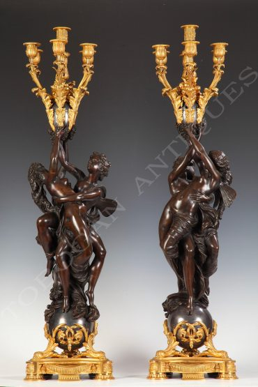 pair of candelabra cupid and psyche