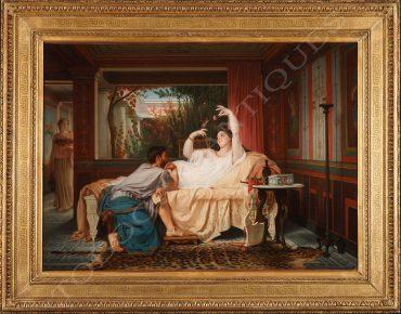 Intimist scene in a Neo-Pompeian atrium