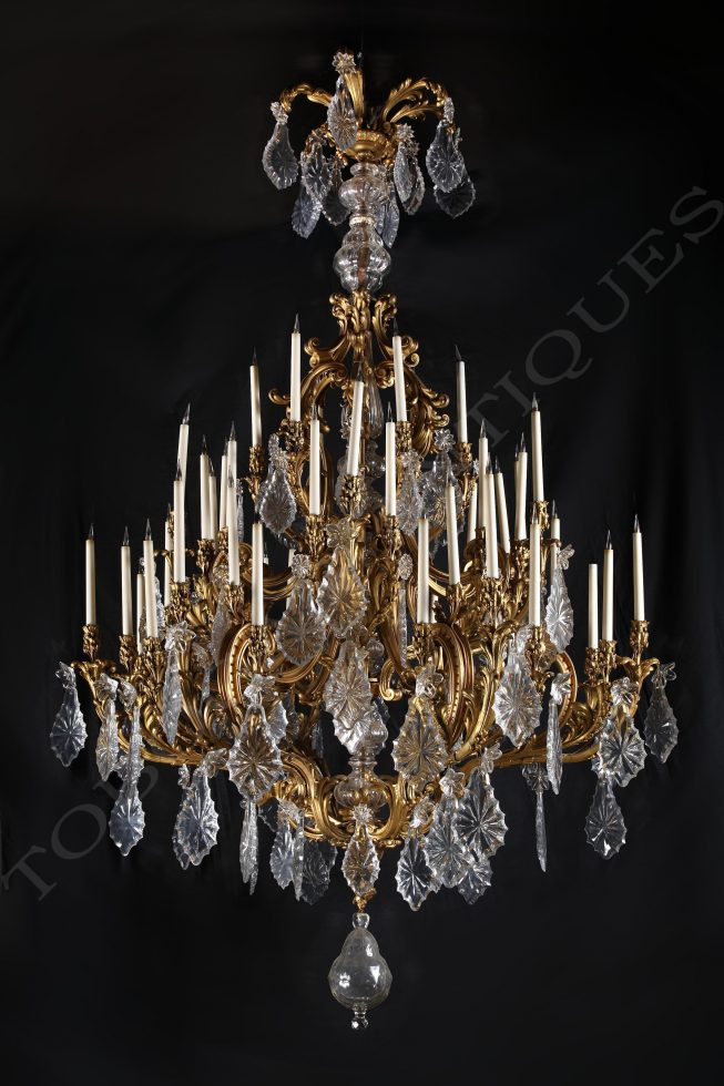 baccarat exceptionnel lustre tobogan antiques. Black Bedroom Furniture Sets. Home Design Ideas