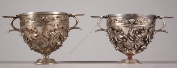 """D. Attarge & F. Barbedienne <br/> Pair of """"Alésia"""" cups"""