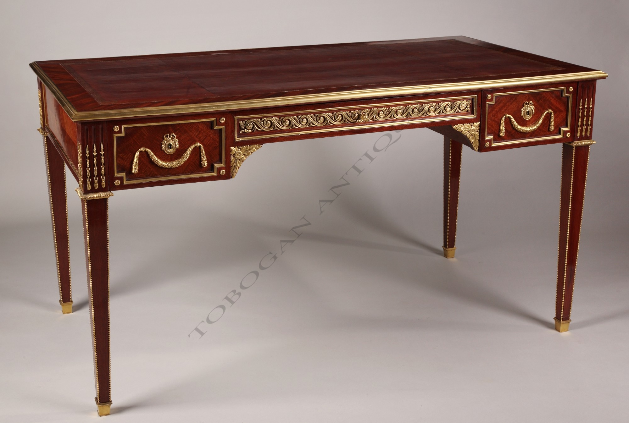 a louis xvi style bureau plat tobogan antiques. Black Bedroom Furniture Sets. Home Design Ideas