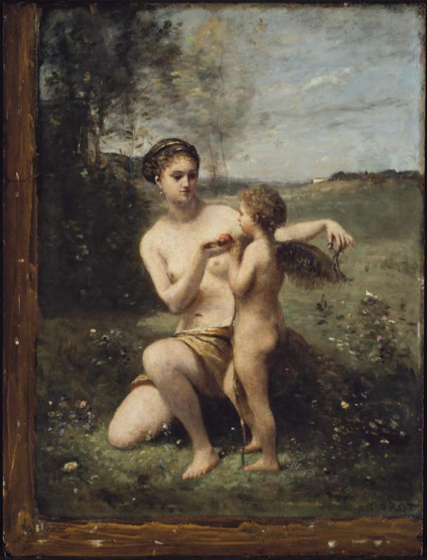 Tableau représentant Vénus coupant les ailes de Cupidon.