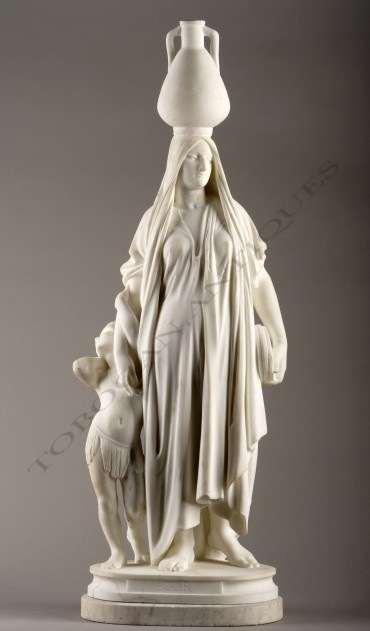 """Agar"" Delaplanche marbre sculpture Tobogan Antiques Paris antiquités XIXe siècle"