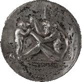 "Grand plat néo-grec ""Dionysos"" bronze Levillain Barbedienne Tobogan Antiques Paris antiquités XIXe siècle"