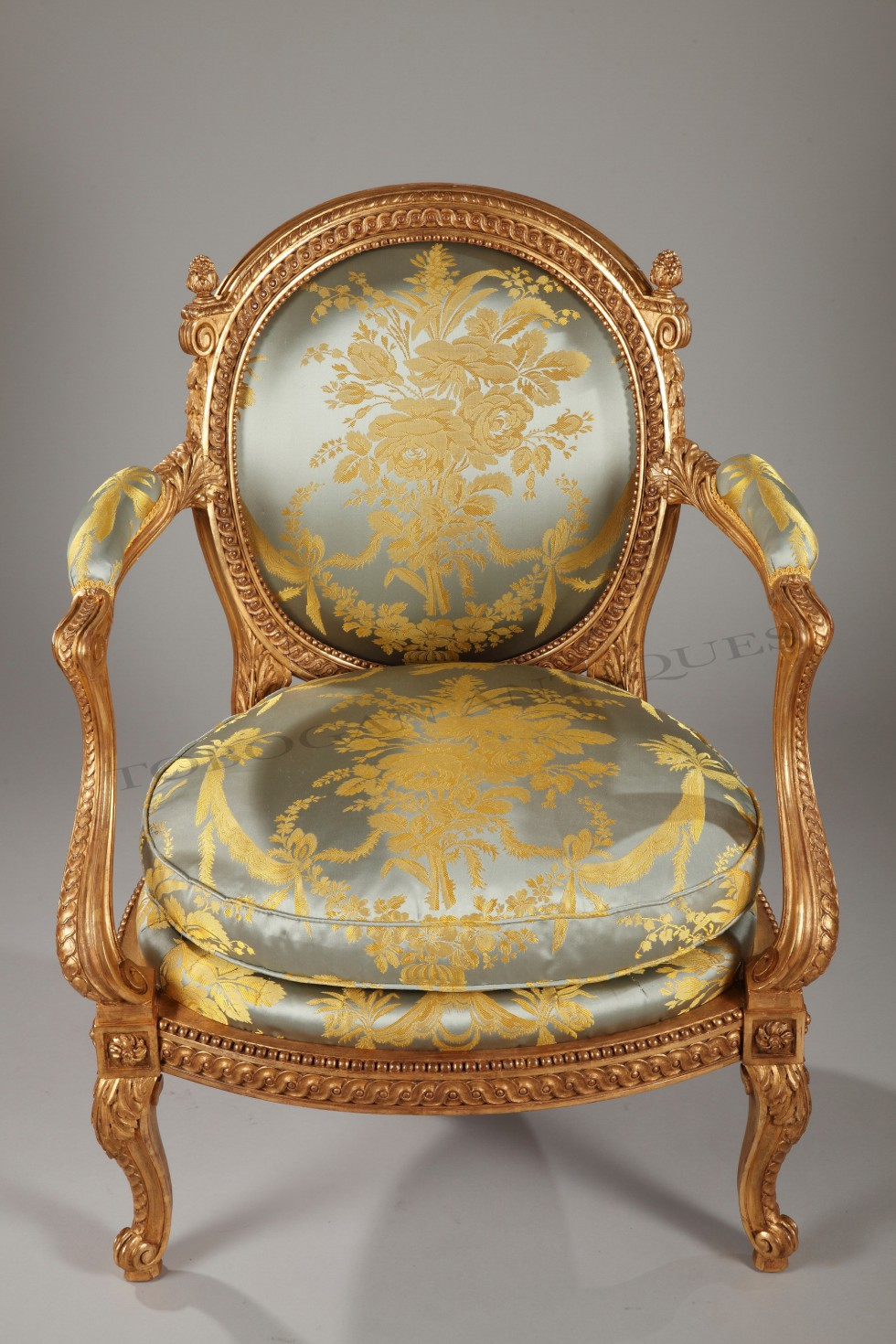 A rare gilt-wood armchair <br/> for a Boudoir